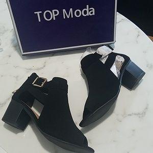 Top Moda Black Peep Toe Vivi Bootie